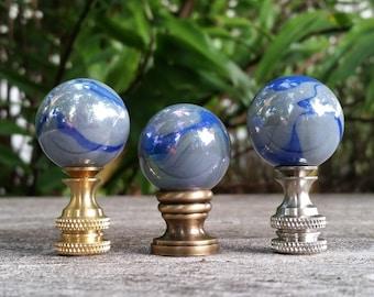 Gray Lamp Finial, Blue Swirls, Medium