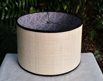 Raffia Cloth Lampshade Lined with Black White Floral Fabric