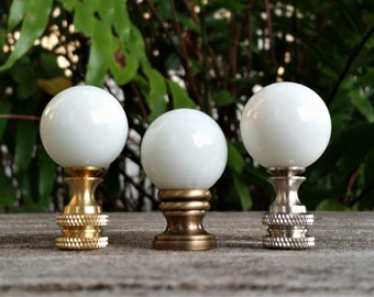Minimalist White Lamp Finial, Glass Marble