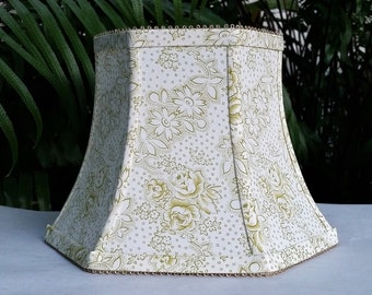 Green and White Floral Lampshade, Vervain Fabric