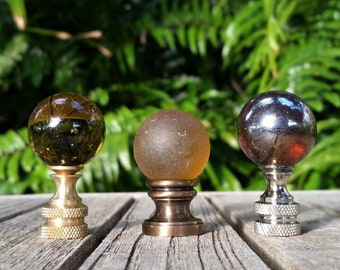 Amber Brown Lamp Finial, Shiny, Frosted, Iridescent