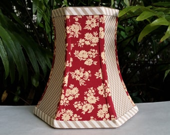 Floral Lampshade, Tomato Red and Beige Gingham Lamp Shade
