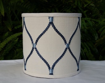 Small Drum Lamp Shade Embroidered Linen Blue