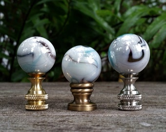 Pearl White Lamp Finial, Blue Black and Gray