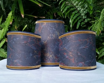 Set of Three Marbleized Paper Lampshades Navy Gold