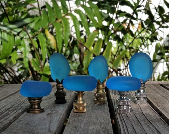 Turquoise Lamp Finial, Oval Glass Rock