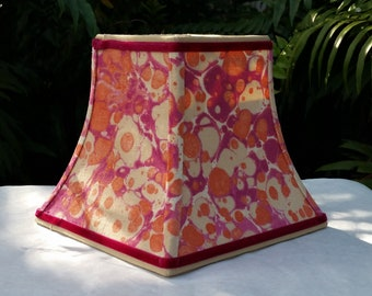 Marbleized Fabric Lampshade Velvety Cotton, Candle Clip