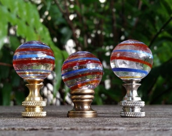 Red Blue Stripe Lamp Finial, Clear Base