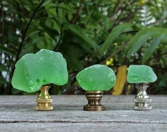 Sea Glass Lamp Finial, Green
