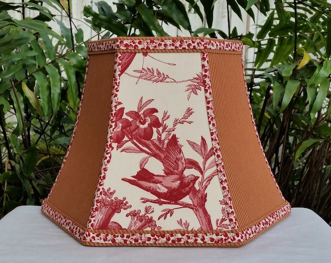 Featured listing image: Bridge Lamp Shade, Hexagon Bell, Red