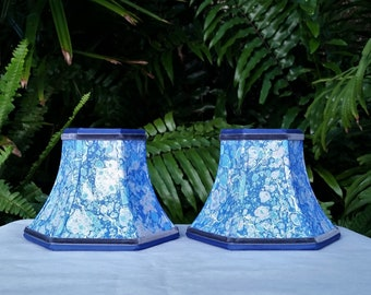 Pair Small Marbled Paper Sconce Lampshades Blue