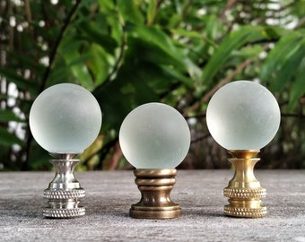 Lamp Finial, Frosted Glass, Clear, Medium