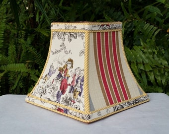 Toile Lampshade, French Country, Square Bell Lamp Shade