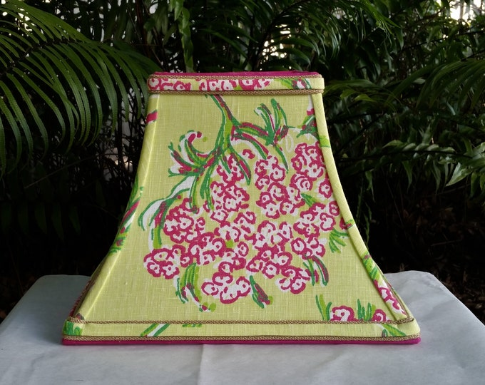 Featured listing image: Green and Pink Lampshade, Lilly Pulitzer Fabric Lamp Shade