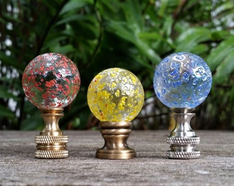 Lamp Finial, Red Yellow or Blue