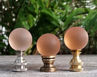 Medium Frosted Glass Pink Lamp Finial