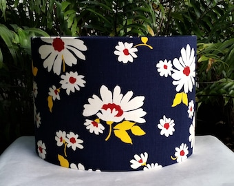 Navy Blue Floral Lamp Shade, Drum Lampshade