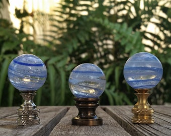 Transparent Lamp Finial, Blue Swirls