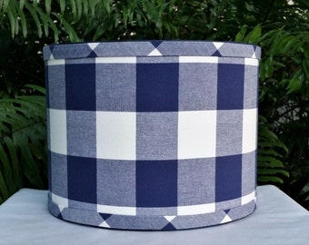 Navy Blue Check Lamp Shade, Drum Lampshade