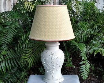Large Table Lamp Off White, Custom Yellow Lampshade