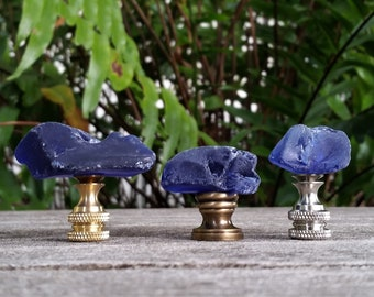 Cobalt Lamp Finial, Sea Glass
