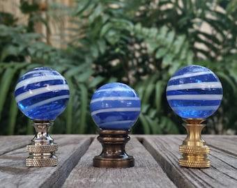 Royal Blue Lamp Finial, White Swirls