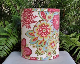 Floral Drum Lampshade, Pink Blue Green Lamp Shade