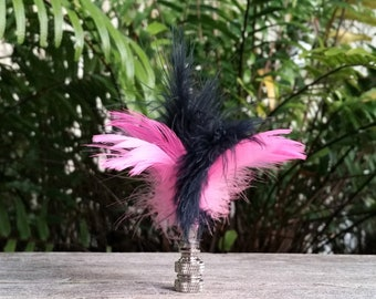 Feather Lamp Finial, Hot Pink and Indigo Blue