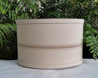 Lamp Shade, Natural Taupe Grain Sack, Drum Lampshade
