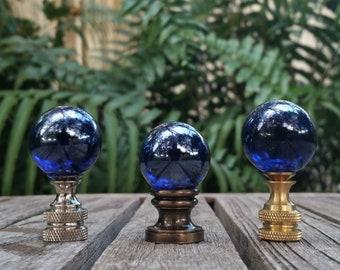 Iridescent Cobalt Blue Lamp Finial