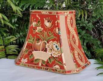 Vintage Floral Fabric Lamp Shade, Rust Olive Lampshade