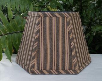 Black Blue Tan Stripe Hexagon Clip On Lampshade