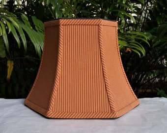 Red Brown Ticking Swing Arm, Table Lampshade, Hexagon Lamp Shade
