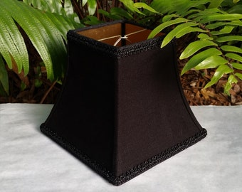 Black Linen Lampshade, Gold Lining, Beaded Trim, Clip On