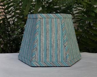 Aqua Indigo Stripe Lampshade, Clip On Lamp Shade