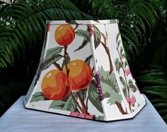 Lamp Shade, Rectangle Cut Corner Lampshade, Vintage Fabric