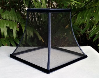 Wire Mesh Lampshade, Black, Blue Trim Lamp Shade