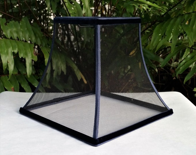 Featured listing image: Wire Mesh Lampshade, Black, Blue Trim Lamp Shade