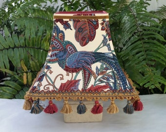 Bird Lampshade, Floral, Blue Burgundy, Square Bell Lamp Shade
