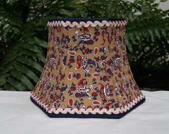 Lampshade, French Paisley, Navy Blue, Beige, Red, Hex Bell, Clip On Lamp Shade