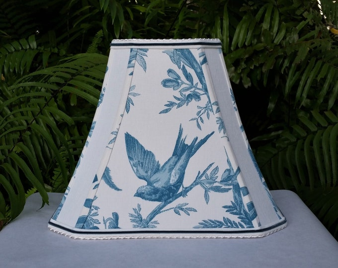 Featured listing image: Teal Blue White Bird Lampshade Square Cut Corner Bell Lamp Shade