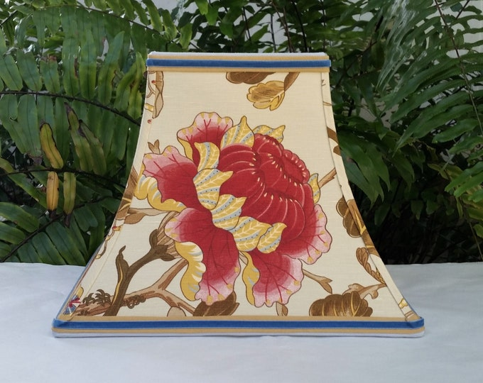 Featured listing image: Floral Lampshade, Linen Square Bell Lamp Shade