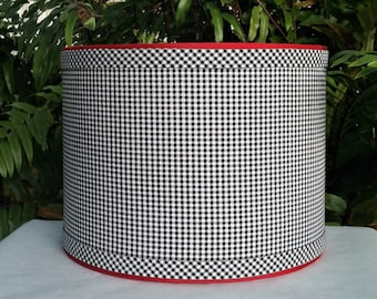 Black Gingham Lamp Shade, Drum Lampshade, Custom