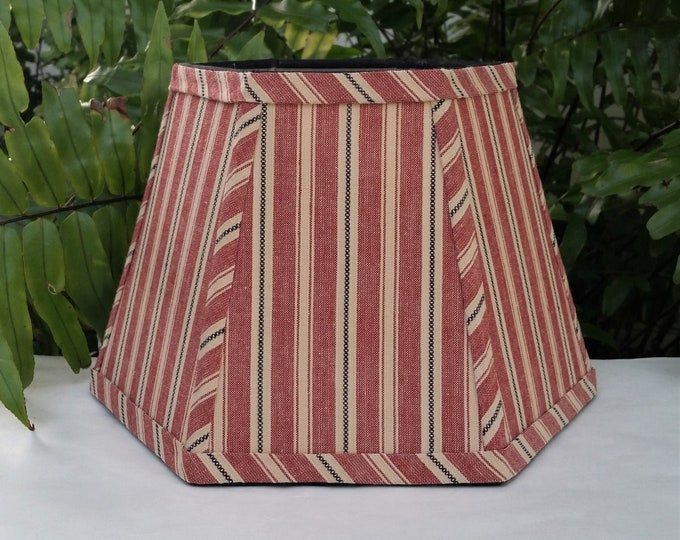 Featured listing image: Lampshade Gray Blue Red Beige Stripe Hexagon Clip On Lampshade