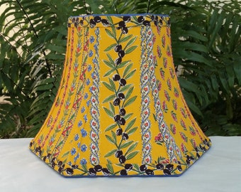 French Country Lamp Shade, Bright Yellow Bell Lampshade