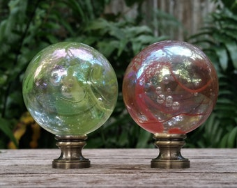 Large Iridescent Lamp Finial, Green or Red