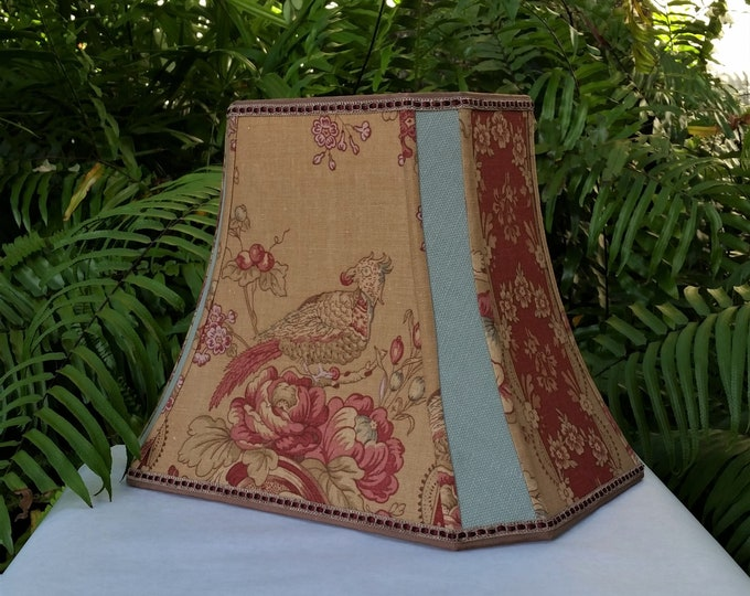 Featured listing image: Vervain Fabric Lampshade, Birds, Red Brown Sage