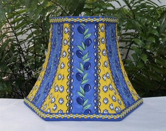French Country Lamp Shade, Blue, Lemon Yellow Bell Lampshade