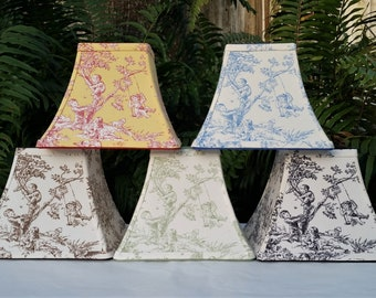 Toile Lampshade, Clip On, Various Colors