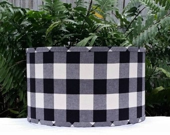 Pendant Lamp Shade, Black and White Check Lamp Shade